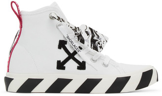 Off-White White and Black Vulcanized Mid-Top Sneakers