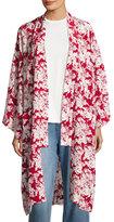 Robert Rodriguez Floral-Print Silk Robe Jacket, Crimson/White