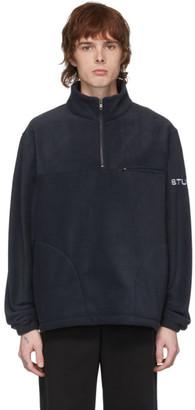 Stussy Navy Half-Zip Mock Sweater