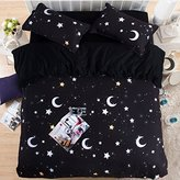 HIGOGOGO Home Textiles Cotton Black Duvet Cover Set 5Pcs,Moon and Stars Myth Sheet Set Twin Full Queen Size (Full)