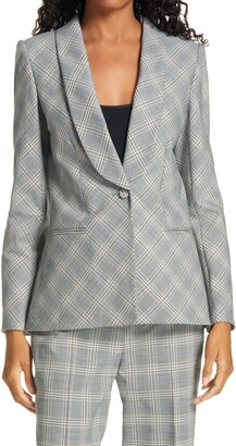 Rebecca Taylor Windowpane Plaid Double Breasted Jacket