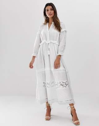 French Connection prairie midi dress-White