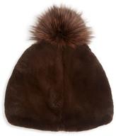 Salon Only Julia & Stella For The Fur Salon Rabbit Fur & Fox Fur Pom-Pom Beanie