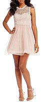 Sequin Hearts Lace Bodice Mesh Party Dress