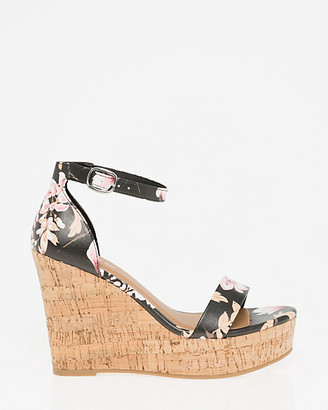 Le Château Floral Print Faux Leather Wedge Sandal