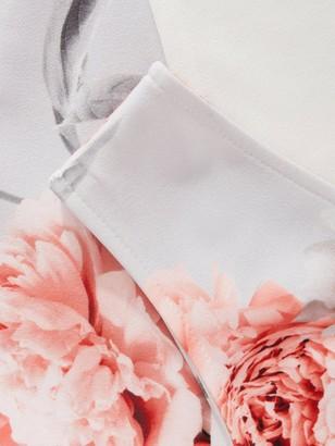 Quiz Floral Wrap Cont Hanky Hem Dress - Grey