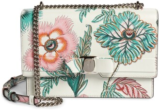 Salvatore Ferragamo Vara Papavero Floral Print Leather Shoulder Bag