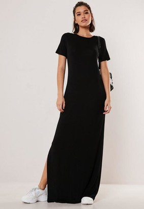 Missguided Petite Black Basic Side Split T Shirt Maxi Dress