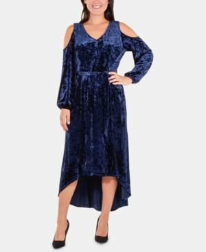 NY Collection Petite Velvet High-Low Cold-Shoulder Dress