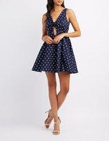 Charlotte Russe Polka Dot Cut-Out Skater Dress