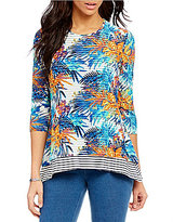Multiples 3/4 Sleeve Print & Stripe Layered Top