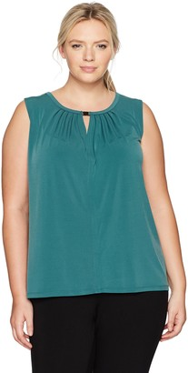 Nine West Women's Plus Size Solid Ity Blouse with Keyhole