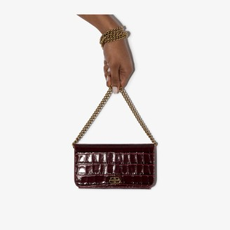 Balenciaga dark red BB mock croc leather phone bag