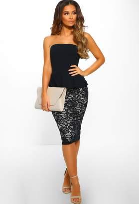 Pink Boutique Goddess Glamour Navy Peplum Lace Midi Dress