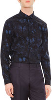 Valentino Camo Butterfly-Print Button-Front Shirt, Navy