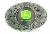 John Deere Pewter Western Style Logo Belt Buckle
