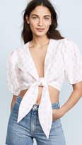 Lisa Marie Fernandez Pouf Linen Tie Blouse