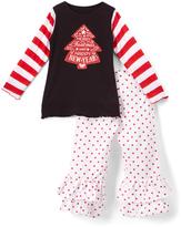 Beary Basics Red 'New Year' Long-Sleeve Tee & Ruffle Pants - Toddler & Girls