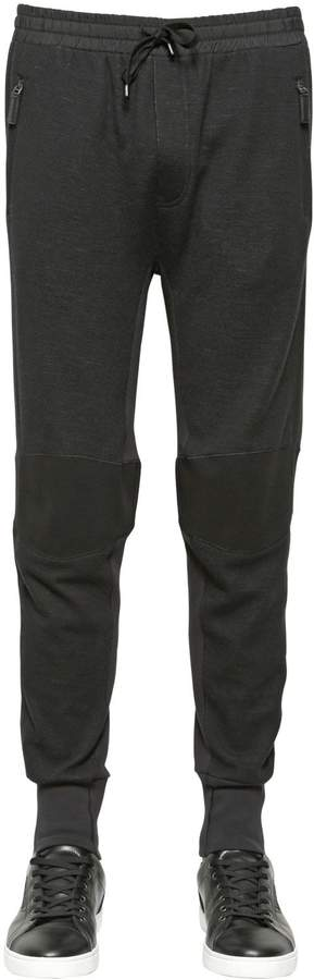 Dolce & Gabbana Stretch Wool Blend Biker Jogging Pants