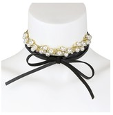 N by nOir Women's Leather Wrap around Leather Pearl Cluster Choker