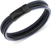 Armani Exchange Emporio Armani Men's Gunmetal Steel Navy and Black Leather Bracelet EGS2215