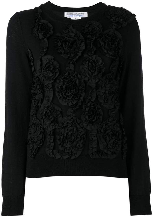 Comme des Garcons floral embroidered knitted top