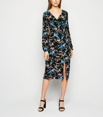 New Look Blue Vanilla Floral Wrap Midi Dress