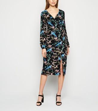 New Look Blue Vanilla Floral Wrap Midi Dress