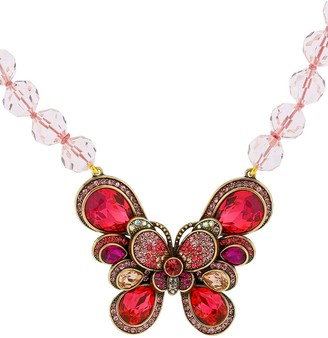 Heidi Daus Crystal & Glass Beaded Butterfly Pendant Necklace