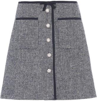 Miu Miu A-line tweed mini-skirt