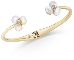 Kate Spade Gold-Tone Pave & Imitation Pearl Hinged Slim Cuff Bracelet