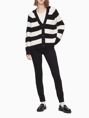 Calvin Klein Striped Button-Front Boyfriend Cardigan