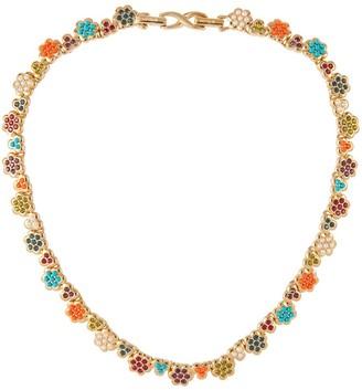 Susan Caplan Vintage 1980s Vintage Dorlan Jewel Floral Swarovski Crystal Necklace