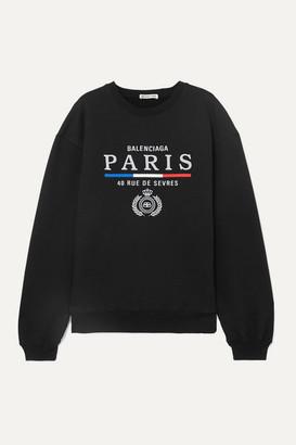 Balenciaga Embroidered Cotton-jersey Sweatshirt - Black