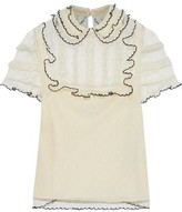 RED Valentino Ruffled Point D'esprit And Lace Blouse