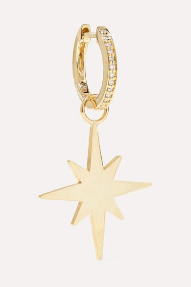 Sydney Evan Starburst 14-karat Gold Diamond Hoop Earring