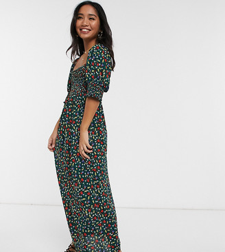 Asos DESIGN Petite shirred bust maxi dress in ditsy print