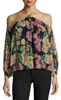 Ella Moss Jaeda Cold-Shoulder Floral-Print Silk Top, Black