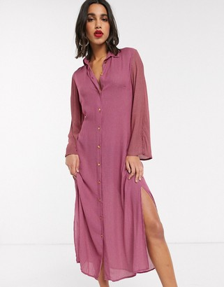 Closet London Closet shirt dress with tie front in pink