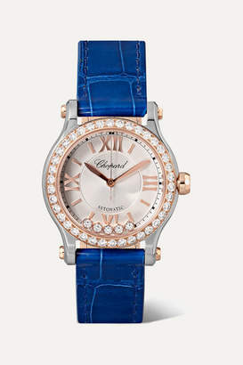 Chopard Happy Sport Automatic 30mm 18-karat Rose Gold, Stainless Steel, Alligator And Diamond Watch
