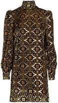 Gucci Lame Jacquard Long-Sleeve Turtleneck Shift Cocktail Dress