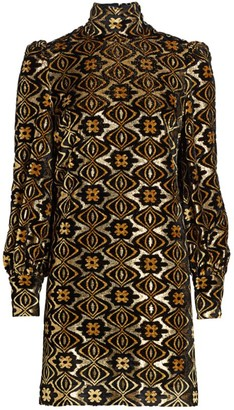 Gucci Lame Jacquard Long-Sleeve Turtleneck Shift Cocktail Dress