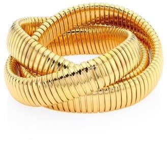 "Bagutta Alberto Milani Via 18K Gold Triple Row Tubogas Bangle Bracelet/0.60"""