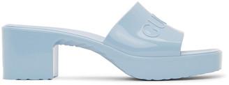 Gucci Blue Rubber Slide Sandals