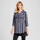 Merona Women's Lace-up Front Tunic Xavier Navy Stripe