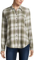 Almost Famous Long Sleeve Button-Front Shirt-Juniors
