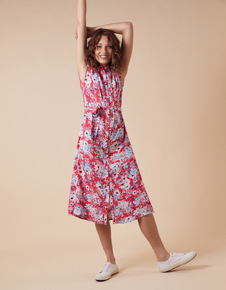 Monsoon Floral Print Shirt Dress with LENZING ECOVERO Red