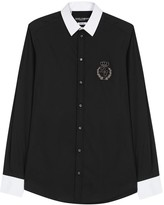 Dolce & Gabbana Monochrome Appliquéd Cotton Shirt