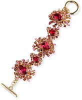 Oscar de la Renta Tiered Crystal Toggle Bracelet, Hot Pink