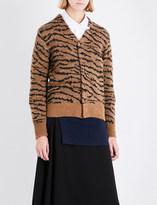 Toga Tiger-embroidered wool-blend cardigan